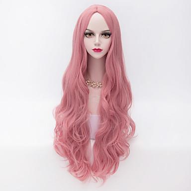Syntetiske parykker Bølget / Løse bølger Lyserød Syntetisk hår Midtskill Lyserød Parykk Dame Veldig lang Lokkløs Rosa
