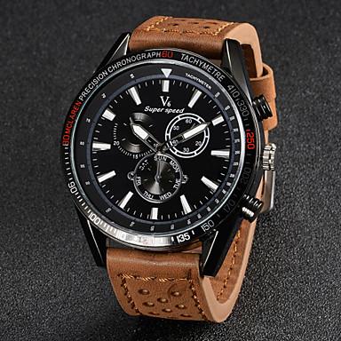 V6 Men's Wrist watch Quartz Japanese Quartz Casual Watch Leather Band Charm Black Brown Khaki