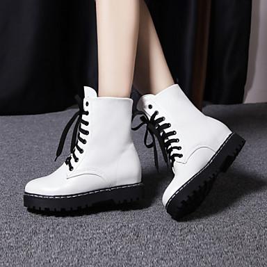 Décontracté Habillé Lacet Pour Automne 04181476 semelle Blanc compensée Similicuir Chaussures Printemps de Botte Bottine Hauteur Femme Hiver Demi BtcZq6U77O