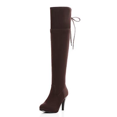 Støvler-Kunstlæder-Hæle / Modestøvler-Dame-Sort / Brun / Mandel-Udendørs / Kontor / Hverdag-Stilethæl
