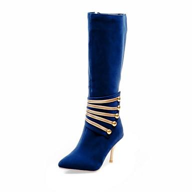 Feminino Sapatos Courino Inverno Primavera Outono Botas da Moda Botas Caminhada Salto Agulha para Casual Preto Vermelho Azul