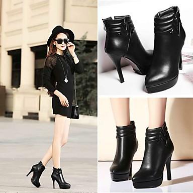 Habillé Noir Femme Bottine Chaussures Aiguille Automne Printemps Demi Botte Hiver 04218950 Paillette Similicuir Pour Brillante Talon B4Bx6FOqrw