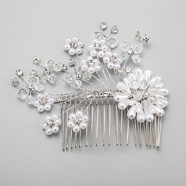 Imitation Pearl Rhinestone Alloy Hair Combs 1 Wedding Special Occasion Headpiece