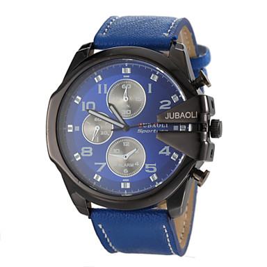 JUBAOLI Men's Wrist watch Military Watch Quartz Casual Watch Leather Band Charm Black White Blue Red