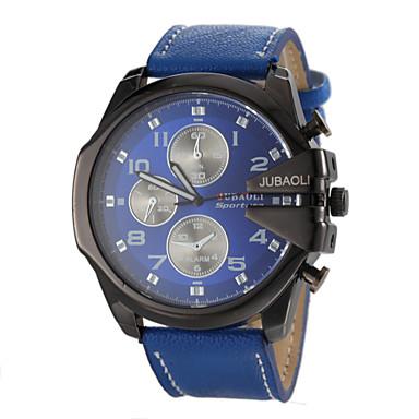 JUBAOLI 남성용 손목 시계 밀리터리 시계 석영 캐쥬얼 시계 가죽 밴드 참 블랙 화이트 블루 레드