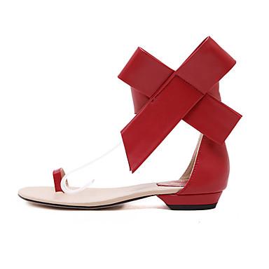 Черный / Красный / Бежевый - Женская обувь - На каждый день - Дерматин - На плоской подошве - С открытым носком - Сандалии