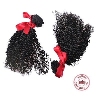 EVET 6A Peruvian Curly Hair 2pcs/lot 1B# Kinky Curly Virgin Hair Unprocessed Kinky Curly Weave Human Hair 100g/pc