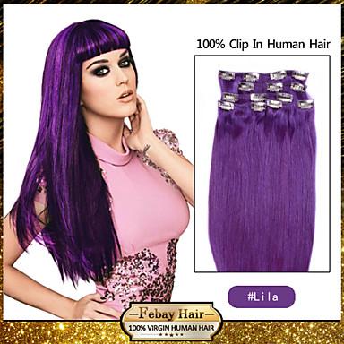 febay tuotemerkin 20-22inch 8kpl 100g / set lila intialainen leikkeen hiuksista