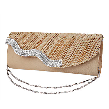Γυναικείο Τσάντες Μετάξι Βραδινή τσάντα Κρύσταλλο/Στρας για Γάμου Λευκό Μαύρο Ασημί Γκρίζο Χρυσαφί