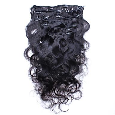 κλιπ σε επεκτάσεις ανθρώπινα μαλλιών Βραζιλίας κλιπ κύμα σώμα σε επεκτάσεις τρίχας ανθρώπινα 7pcs μαλλιών / παρτίδα 120g βαθμού 6α