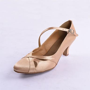 Для женщин Сальса Обувь для стандарта Сатин Шёлк На каблуках Тренировочные Для начинающих Профессиональный стиль Для закрытой площадки
