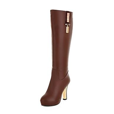 Γυναικεία Παπούτσια Δερματίνη Φθινόπωρο Χειμώνας Τακούνι Στιλέτο 40,64εκ - 45,72εκ Μπότες ως το Γόνατο για Causal Γραφείο & Καριέρα