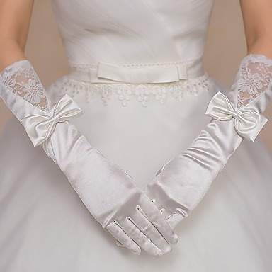 Lace Nylon Elbow Length Glove Bridal Gloves Party/ Evening Gloves With Bowknot