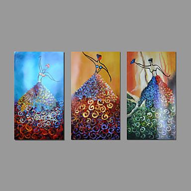 Ручная роспись Абстрактные портретыModern 3 панели Холст Hang-роспись маслом For Украшение дома
