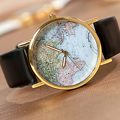 Miesten Rannekello Quartz Arkikello PU Bändi World Map Pattern Musta
