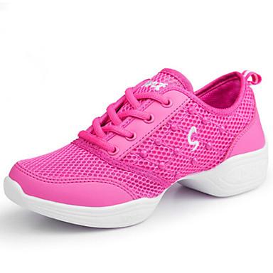 Modern Women's Dance Shoes Sneakers Synthetic Low Heel Black/Fuchsia