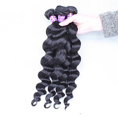 Cheveux Péruviens Tissages de cheveux humains Ondulation Lâche Extensions de cheveux 3 Pièces Noir