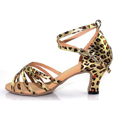 Chaussures de danse(Argent Or Léopard) -Non Personnalisables-Talon Cubain-Flocage-Salsa