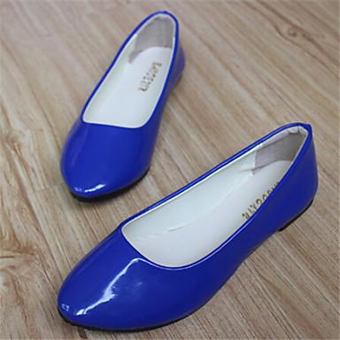 플랫 - 캐쥬얼 - 여성의 신발 - 둥근 앞코 - 레더렛 - 플랫 - 블랙 / 블루 / 화이트 / 그레이 / 베이지