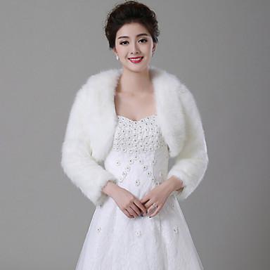 Uzun Kollu Suni Kürk Düğün Kürk Wraplar Düğün sarar With Tüy / Kürk Kabanlar / Ceketler