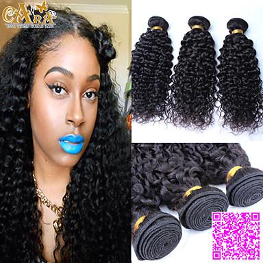 Περουβιανή Σγουρά / Κλασσικά / Kinky Curly Αγνή Τρίχα Υφάνσεις ανθρώπινα μαλλιών 3 δεσμίδες Υφάνσεις ανθρώπινα μαλλιών Φυσικό Μαύρο