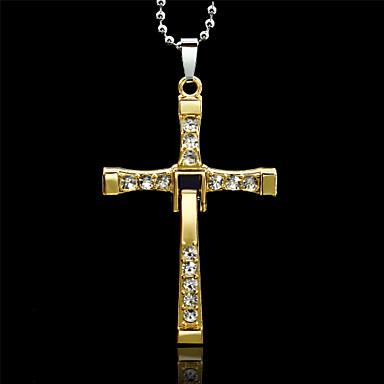 Herrn Anhängerketten - Strass Kreuz, Drache Gold, Silber Modische Halsketten Schmuck Für Hochzeit, Party, Alltag