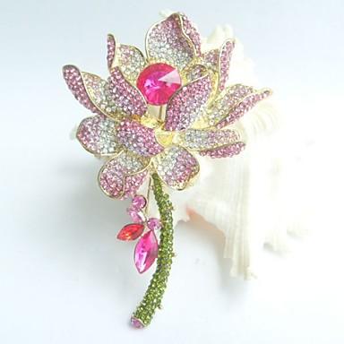 πανέμορφο 4,13 ιντσών χρυσό-Ήχος ροζ στρας κρύσταλλο νούφαρο καρφίτσα αρτ ντεκό