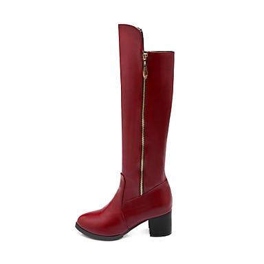 Γυναικείο Παπούτσια Φο Σουέτ Χειμώνας Χαμηλό Τακούνι Μπότες ως το Γόνατο Με Για Causal Φόρεμα Πάρτι & Βραδινή Έξοδος Λευκό Μαύρο Κόκκινο