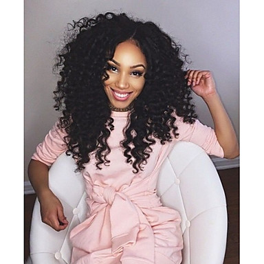 Full Lace Wig Curly 130% Density 100% Hand Tied African American Wig Natural Hairline Medium Women's Human Hair Lace Wig