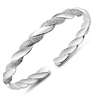 voordelige Armband-Dames Cuff armbanden Vintage Armbanden Gedraaid Dames Standaard Sterling zilver Armband sieraden Zilver Voor Dagelijks Causaal Sport