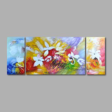 Ζωγραφισμένα στο χέρι Άνθινο/Βοτανικό Οριζόντια Πανοραμική, Μοντέρνα Καμβάς Hang-ζωγραφισμένα ελαιογραφία Αρχική Διακόσμηση Τρίπτυχα