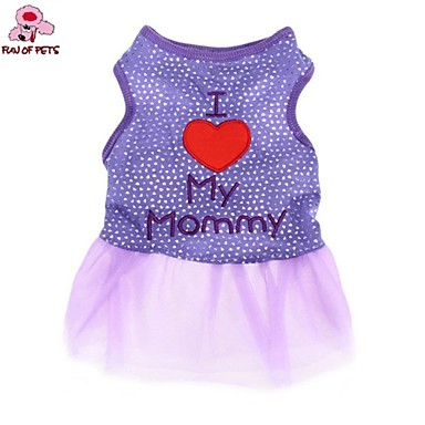 Cat Dog Dress Dog Clothes Casual/Daily Fashion Letter & Number Black Purple Costume For Pets