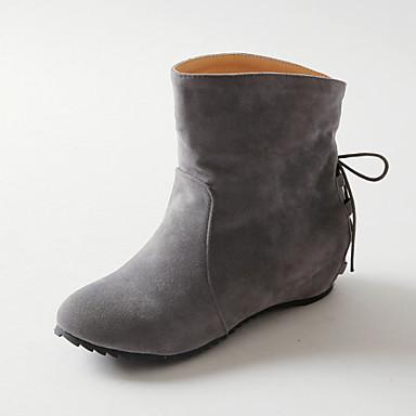 Støvler-Kunstlæder-Modestøvler-Dame-Sort Rosa Grå-Udendørs Kontor Fritid-Kilehæl