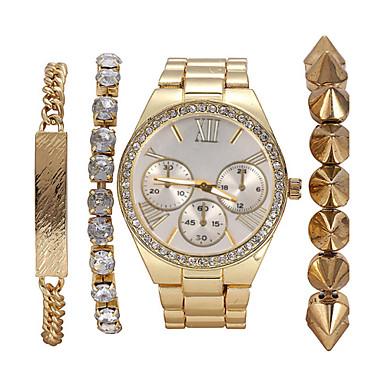 Жен. Модные часы Часы-браслет Кварцевый Нержавеющая сталь Группа Богемные Жемчуг Элегантные часы Золотистый
