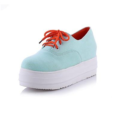 Для женщин Обувь Дерматин Весна Лето Осень Платформа Микропоры Шнуровка Назначение Повседневные Белый Черный Синий