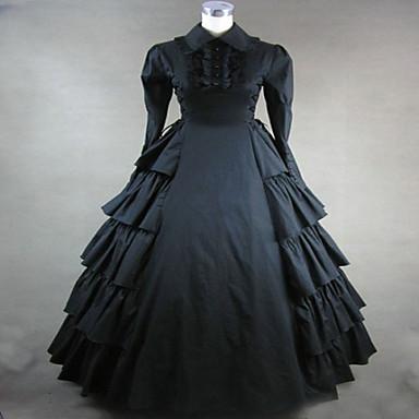Ortaçağ Wiktoriańskie Kostüm Kadın's Elbiseler Maskeli Balo Parti Kostümleri Siyah Eski Tip Cosplay Pamuk Terylene Uzun Kollu Uzun (L)