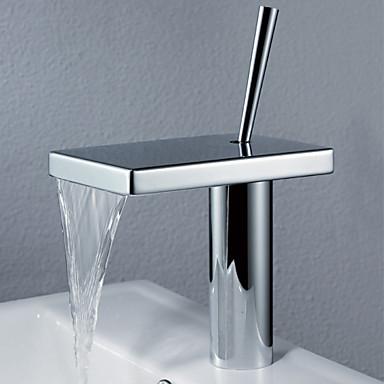 Contemporary Centerset Waterfall Rotatable Ceramic Valve One Hole Single Handle One Hole Chrome, Bathroom Sink Faucet