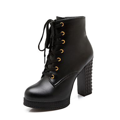 Feminino Sapatos Courino Primavera Outono Inverno Salto Robusto Botas Curtas / Ankle Cadarço Para Casual Social Branco Preto