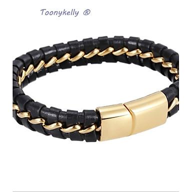 toonykelly® længde 21cm bredde 1.2cm sølv guld moderigtige mænd titanium stål sort læder armbånd ...