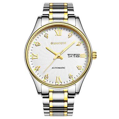 Herren Armbanduhr Automatikaufzug Kalender / Wasserdicht / leuchtend Edelstahl Band Silber Marke
