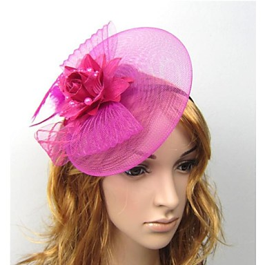 Tulle Feather Fascinators Flowers Hats Hair Clip 1 Wedding Special Occasion Casual Outdoor Headpiece