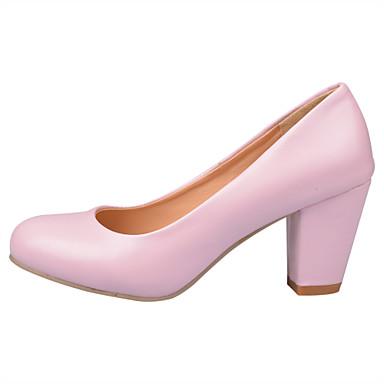 Mulheres Couro Ecológico Verão / Outono Conforto / Sapatos para Daminhas de Honra Saltos Caminhada Salto Robusto Ponta Redonda Preto / Bege / Rosa claro / Social
