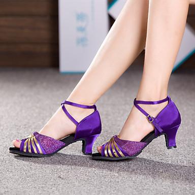 Для женщин Латина Сатин На каблуках Тренировочные Для начинающих Профессиональный стиль Для закрытой площадки Концертная обувь Пайетки С