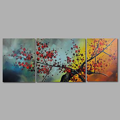 Maalattu Abstrakti / Kukkakuvio/KasvitiedeModerni 3 paneeli Kanvas Hang-Painted öljymaalaus For Kodinsisustus