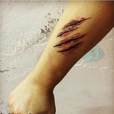 others - 타투 스티커 - Non Toxic / 할로윈 / Waterproof - 기타 - 아이 / 여성 / Girl / 남성 / 어른 / Boy / Teen - 레드 - 종이 - 5 - 10.5*6CM - Halloween Scar