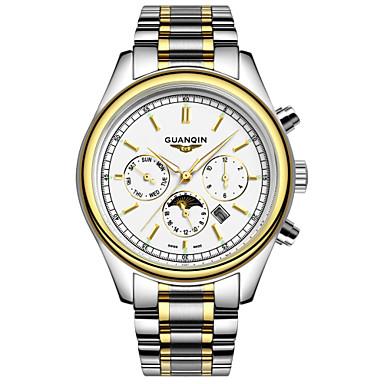 גברים שעון יד קווארץ LED / לוח שנה / עמיד במים מתכת אל חלד להקה כסף מותג