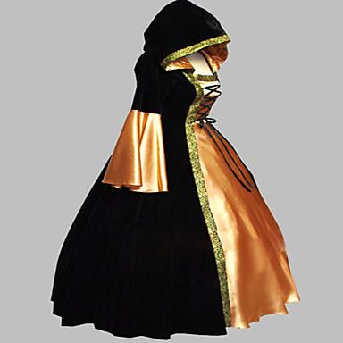 Μεσαίωνα Victorian Στολές Γυναικεία Φορέματα Χορός μεταμφιεσμένων Κοστούμι πάρτι Μαύρο Πεπαλαιωμένο Cosplay Σατέν Κοτλέ Τερυλίνη