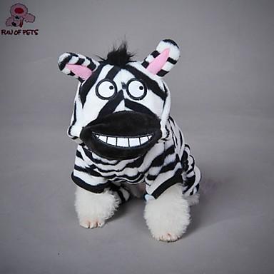Kot Pies Kostiumy Bluzy z kapturem Ubrania dla psów Urocza Cosplay Motyw zwierzęcy Czarny/Biały Kostium Dla zwierząt domowych