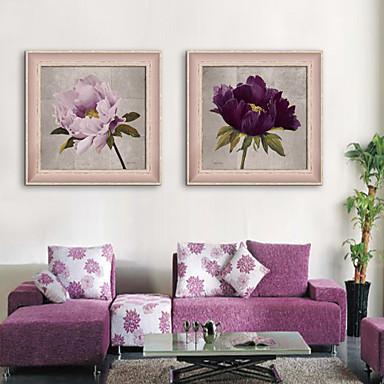 Oprawione płótno Zestaw w oprawie Martwa natura Kwiatowy/Roślinny Postarzane Wall Art, PVC (polichlorek winylu) Materiał z ramą Dekoracja