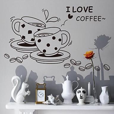 tasse de mode heure du thé paroi plane autocollants de décoration murale, PVC amovible